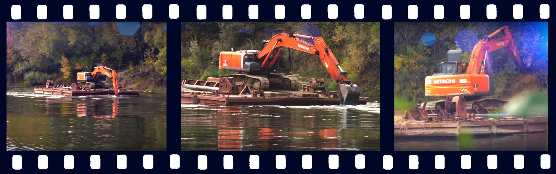 Экскаватор HITACHI плывет баттерфляем по реке Днепр в Смоленске